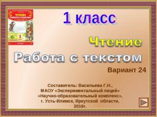 Вариант 24 Составитель: Васильева Г.Н., МАОУ «Экспериментальный лицей» «Научн