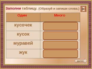 далее Заполни таблицу. (Образуй и запиши слова.) Один Много кусочеккусочки