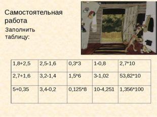 Самостоятельная работа Заполнить таблицу: 1,8+2,5 2,5-1,6 0,3*3 1-0,8 2,7*10