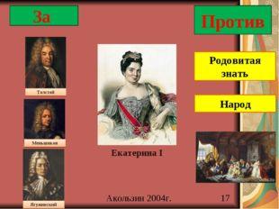 За Против Екатерина I Родовитая знать Народ Толстой Меньшиков Ягужинский Акол
