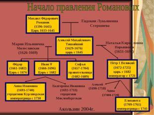Михаил Фёдорович Романов (1596-1645) Царь 1613-1645 Евдокия Лукьяновна Стершн