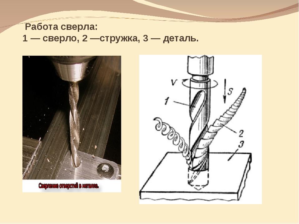 Работа сверла: 1 — сверло, 2 —стружка, 3 — деталь.