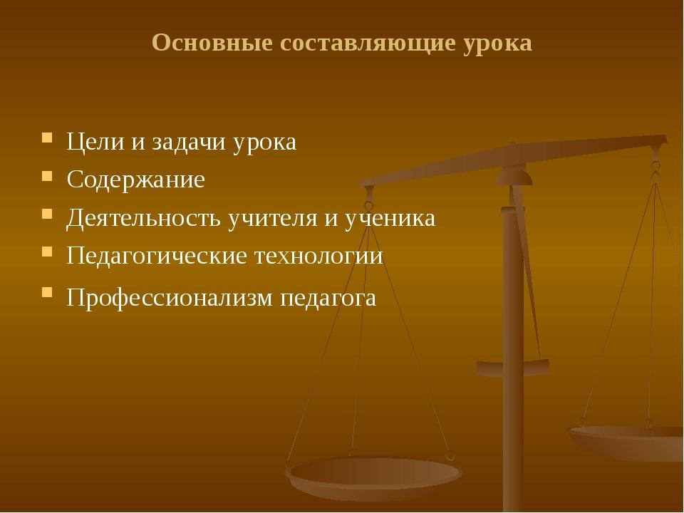 Основные составляющие урока Цели и задачи урока Содержание Деятельность учите...