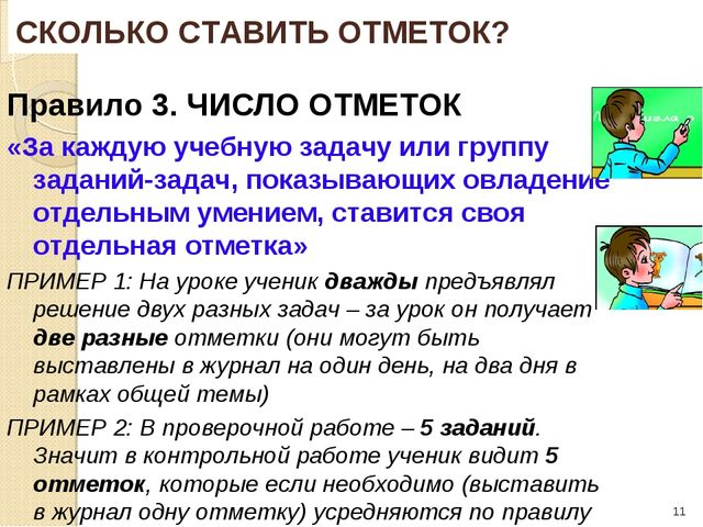 * Правило 3. ЧИСЛО ОТМЕТОК «За каждую учебную задачу или группу заданий-задач...