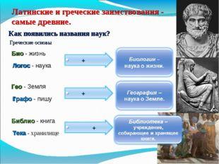Латинские и греческие заимствования - самые древние. Как появились названия н