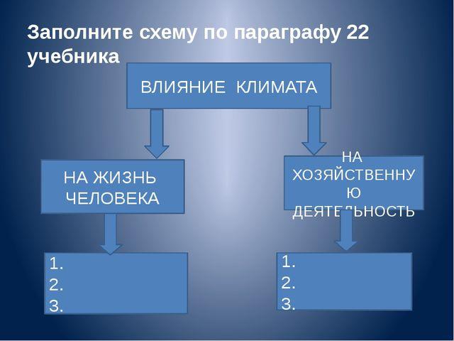 Заполните схему по параграфу 22 учебника ВЛИЯНИЕ КЛИМАТА НА ЖИЗНЬ ЧЕЛОВЕКА НА...