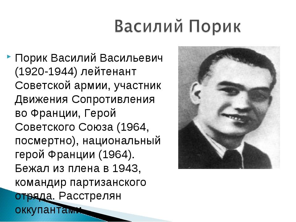 Порик Василий Васильевич (1920-1944) лейтенант Советской армии, участник Движ...