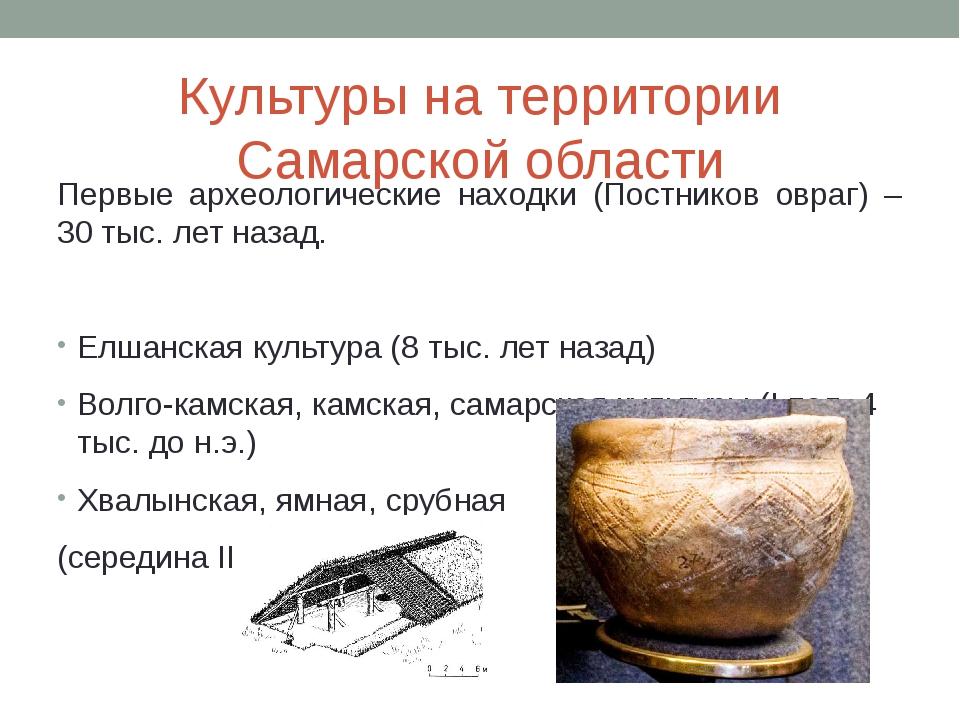 Культуры на территории Самарской области Первые археологические находки (Пост...