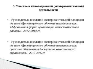 5. Участие в инновационной (экспериментальной) деятельности Руководитель школ