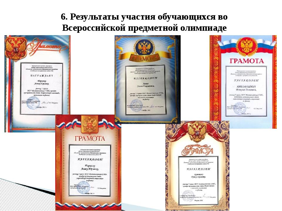 6. Результаты участия обучающихся во Всероссийской предметной олимпиаде