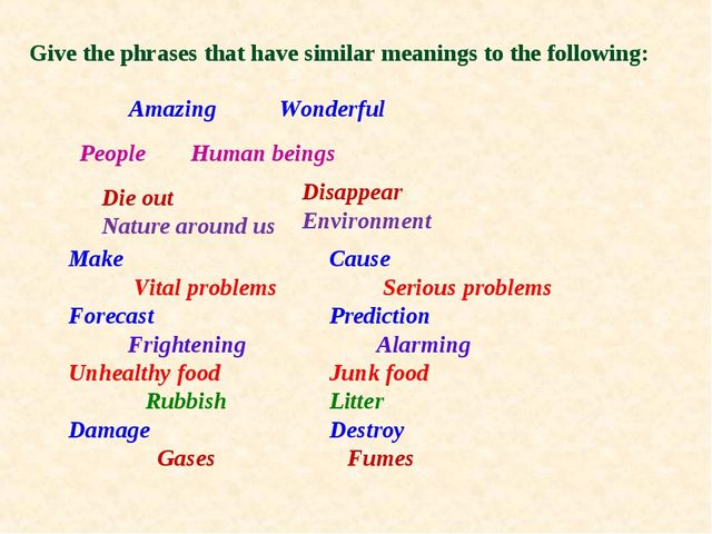 Give the phrases that have similar meanings to the following: Amazing People...