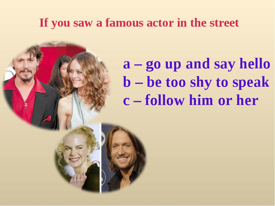 If you saw a famous actor in the street a – go up and say hello b – be too sh...