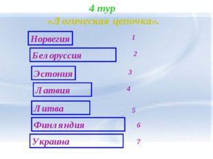 4 тур «Логическая цепочка». Норвегия Эстония Латвия Белоруссия 1 2 3 7 Литва