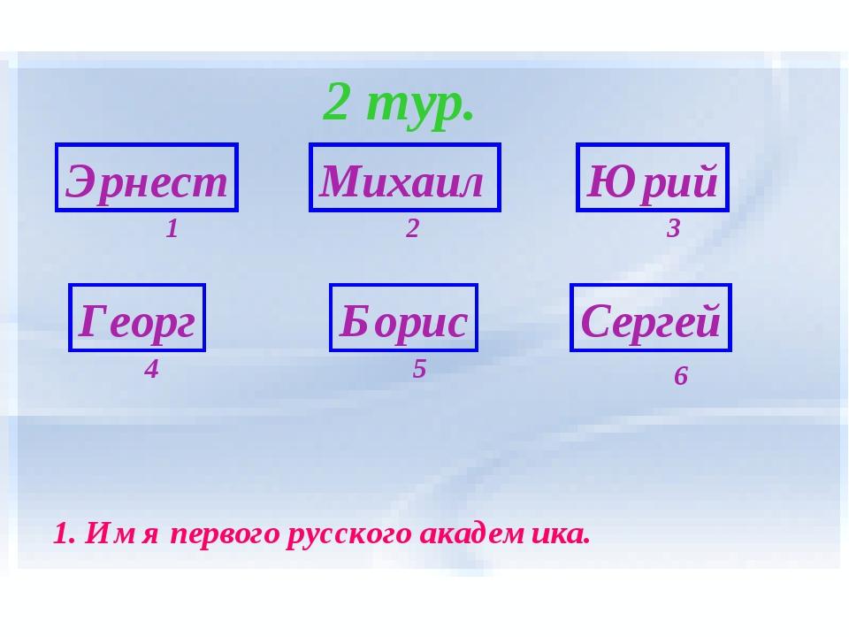 2 тур. Эрнест Георг Борис Сергей Михаил Юрий 6 1 5 4 3 2 1. Имя первого русск...