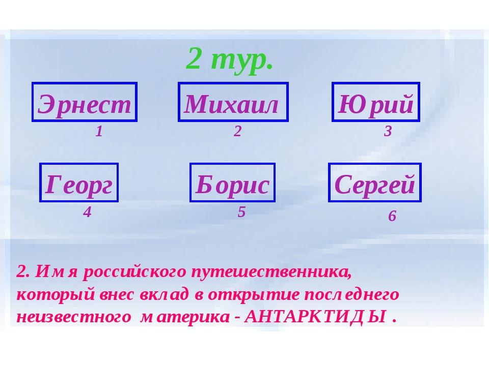 2 тур. Эрнест Георг Борис Сергей Михаил Юрий 6 1 5 4 3 2 2. Имя российского п...