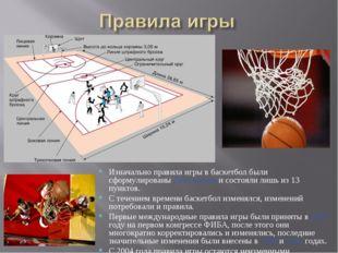 Изначально правила игры в баскетбол были сформулированы Нейсмитом и состояли