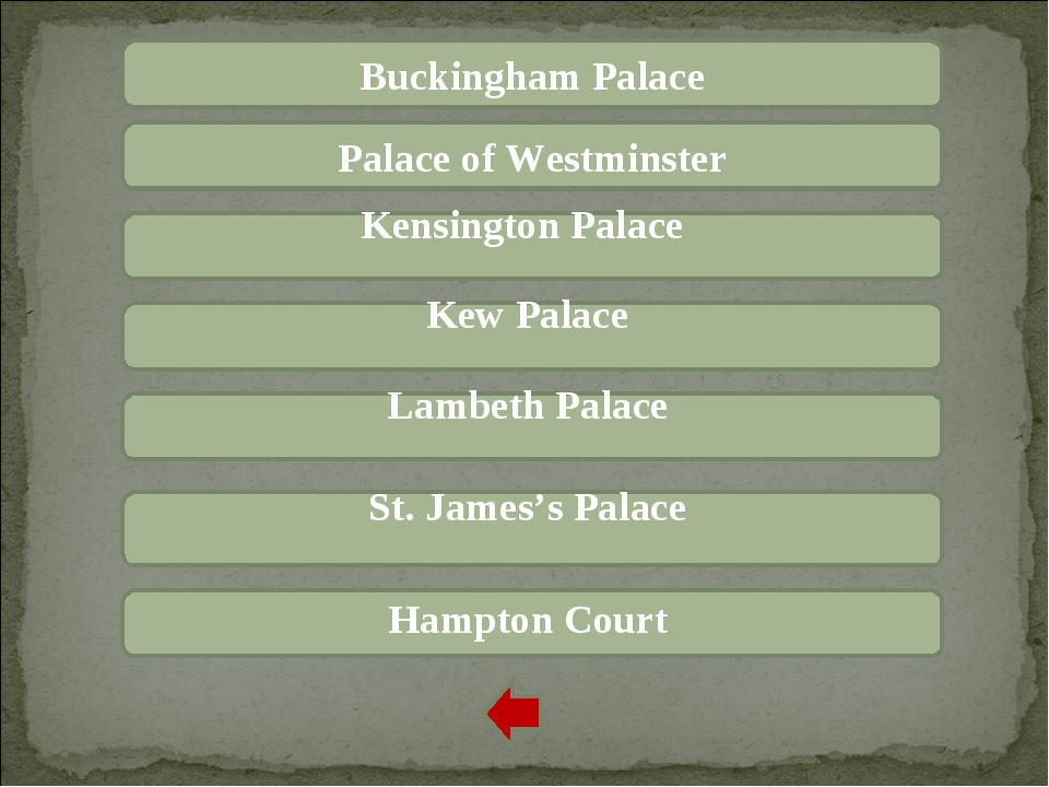 Buckingham Palace Palace of Westminster Kensington Palace Kew Palace Lambeth...