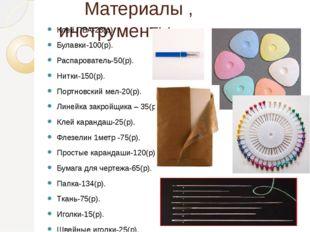 Материалы , инструменты Клей ПВА-23(р). Булавки-100(р). Распарователь-50(р).