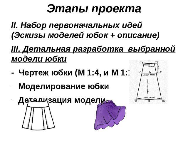 Этапы проекта II. Набор первоначальных идей (Эскизы моделей юбок + описание)...