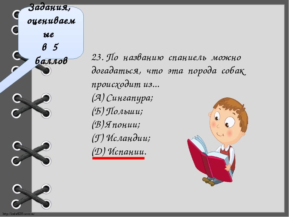 Задания, оцениваемые в 5 баллов 23. По названию спаниель можно догадаться, чт...