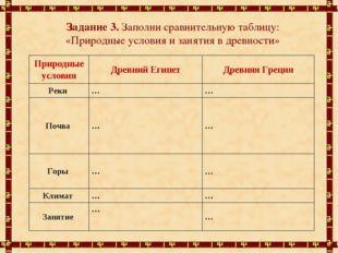 Задание 3. Заполни сравнительную таблицу: «Природные условия и занятия в древ