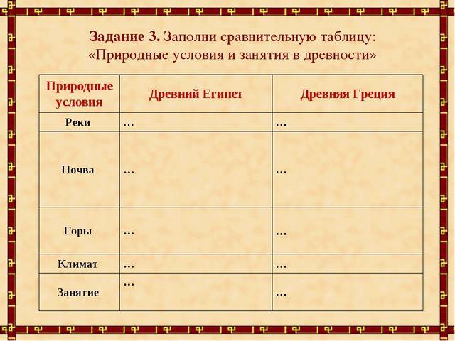 Задание 3. Заполни сравнительную таблицу: «Природные условия и занятия в древ...