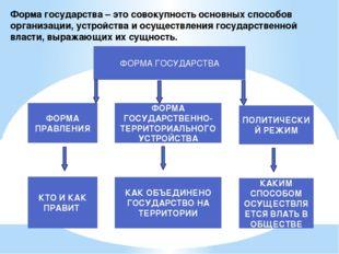 Форма государства – это совокупность основных способов организации, устройств