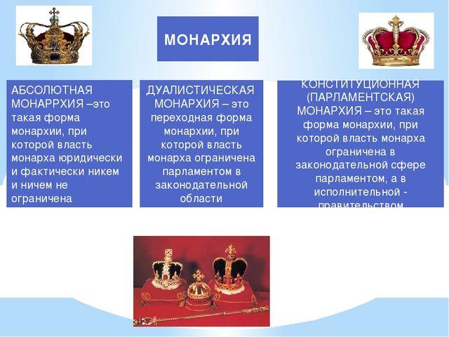 МОНАРХИЯ АБСОЛЮТНАЯ МОНАРРХИЯ –это такая форма монархии, при которой власть м...