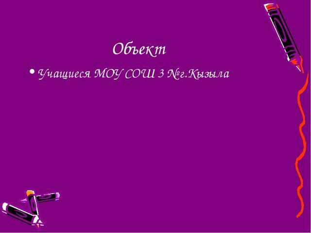 Объект Учащиеся МОУ СОШ 3 № г.Кызыла