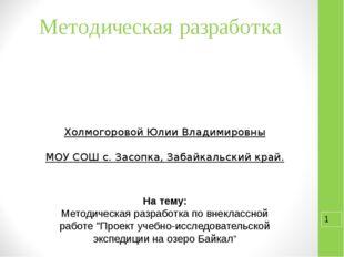 Методическая разработка Холмогоровой Юлии Владимировны МОУ СОШ с. Засопка, За