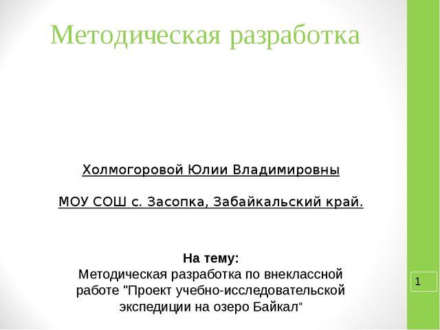 Методическая разработка Холмогоровой Юлии Владимировны МОУ СОШ с. Засопка, За...