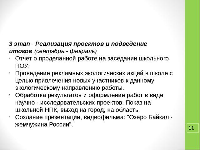 3 этап-Реализация проектов и подведение итогов(сентябрь - февраль) Отчет...