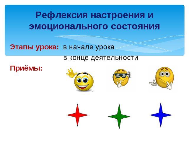 Этапы урока: в начале урока в конце деятельности Приёмы: Рефлексия настроения...