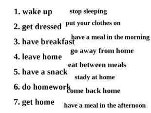 1. wake up 2. get dressed 3. have breakfast 4. leave home 5. have a snack 6.