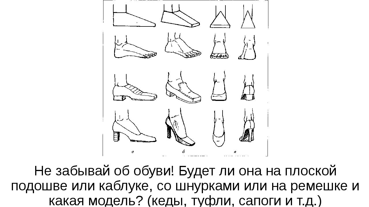 Не забывай об обуви! Будет ли она на плоской подошве или каблуке, со шнурками...