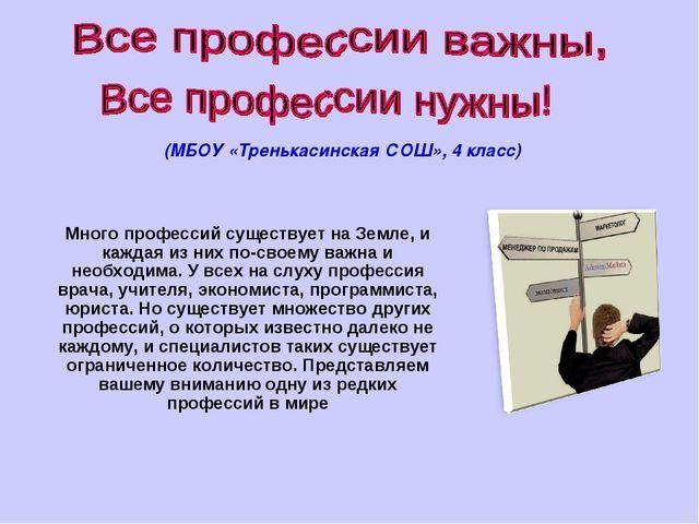 (МБОУ «Тренькасинская СОШ», 4 класс) Много профессий существует на Земле, и к...