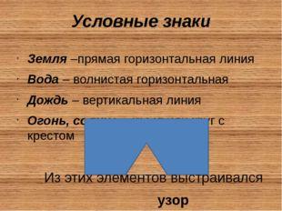 Условные знаки Земля –прямая горизонтальная линия Вода – волнистая горизонт