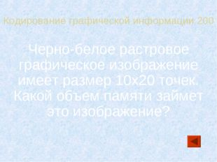 Кодирование графической информации 200 Черно-белое растровое графическое изоб