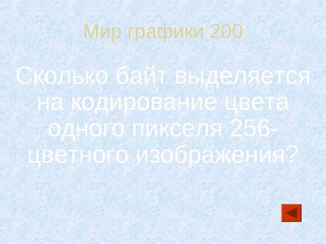 Мир графики 200 Сколько байт выделяется на кодирование цвета одного пикселя 2...