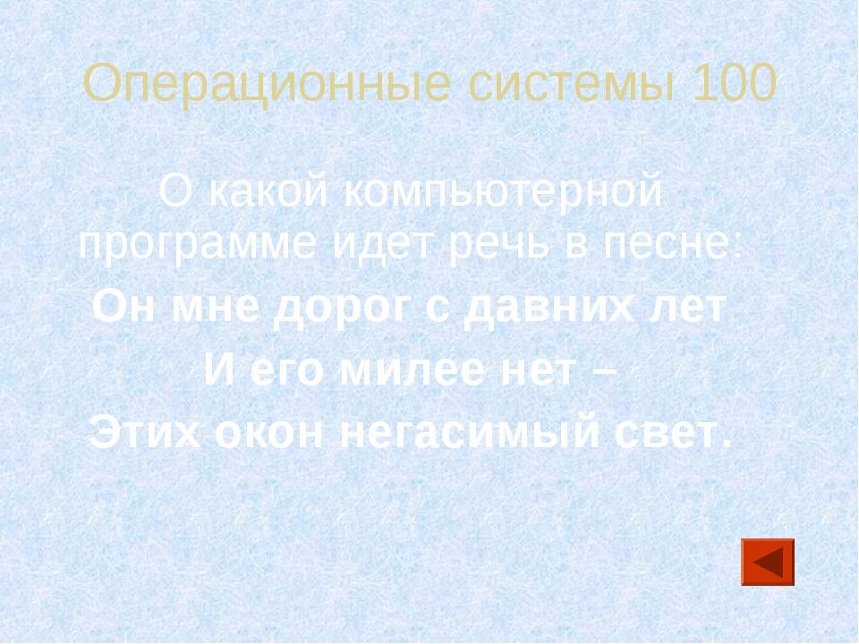 Операционные системы 100 О какой компьютерной программе идет речь в песне: Он...