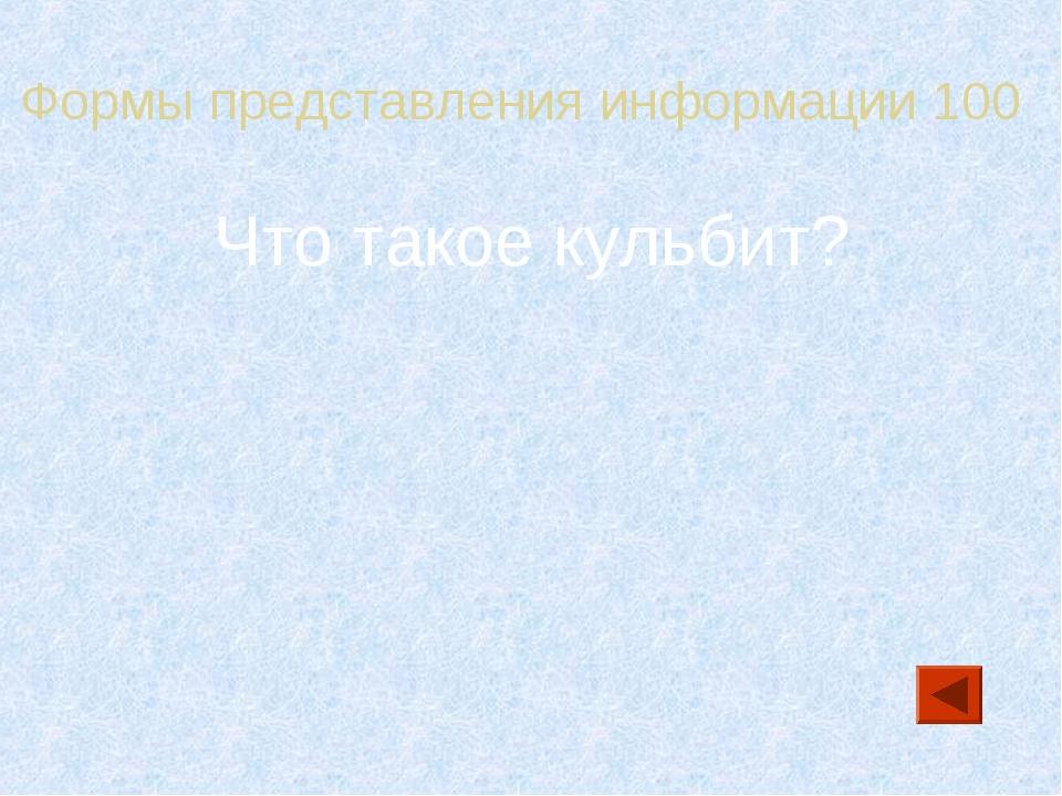 Формы представления информации 100 Что такое кульбит?