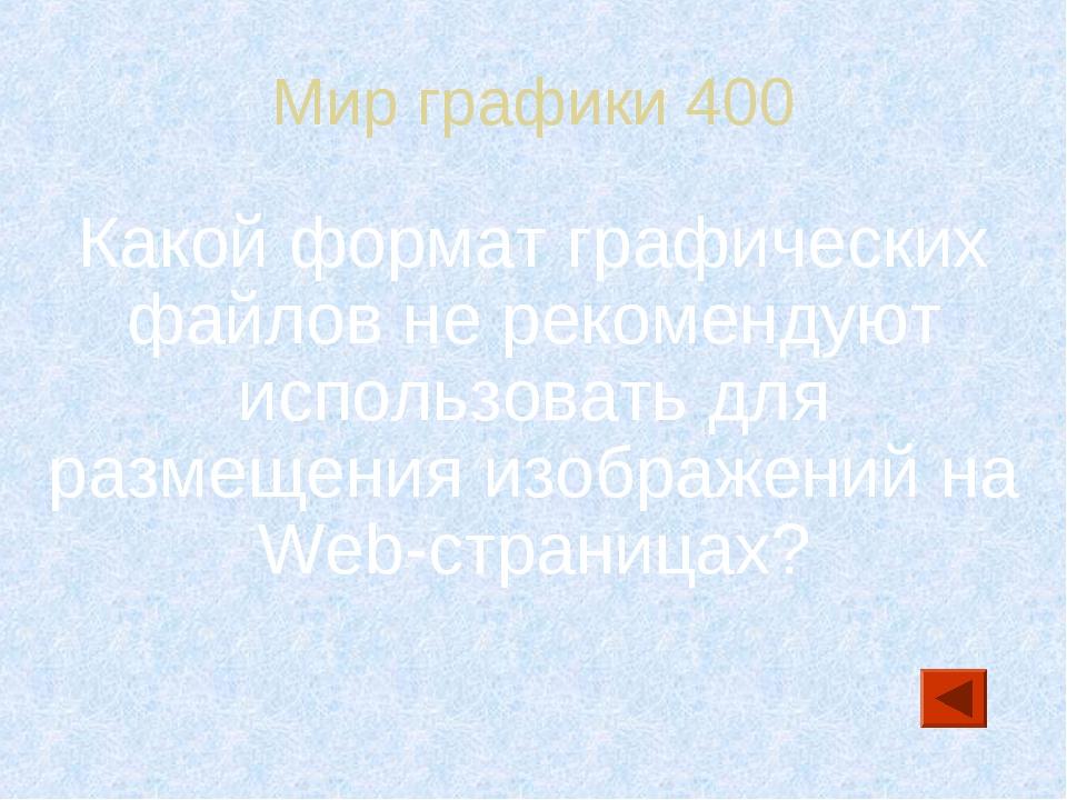 Мир графики 400 Какой формат графических файлов не рекомендуют использовать д...