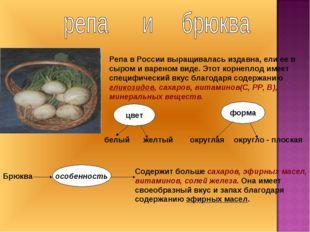 Репа в России выращивалась издавна, ели ее в сыром и вареном виде. Этот корне