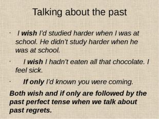 Talking about the past I wish I'd studied harder when I was at school. He did