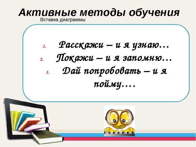 Расскажи – и я узнаю… Покажи – и я запомню… Дай попробовать – и я пойму…. Акт...