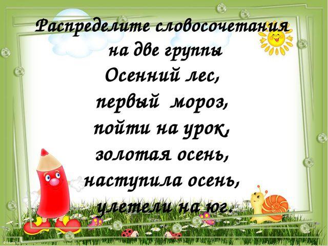 Распределите словосочетания на две группы Осенний лес, первый мороз, пойти на...