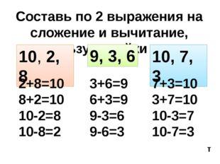 Составь по 2 выражения на сложение и вычитание, используя тройки чисел 10, 2,
