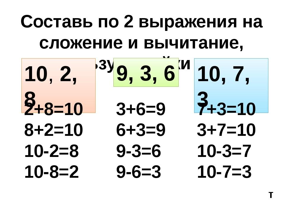 Составь по 2 выражения на сложение и вычитание, используя тройки чисел 10, 2,...
