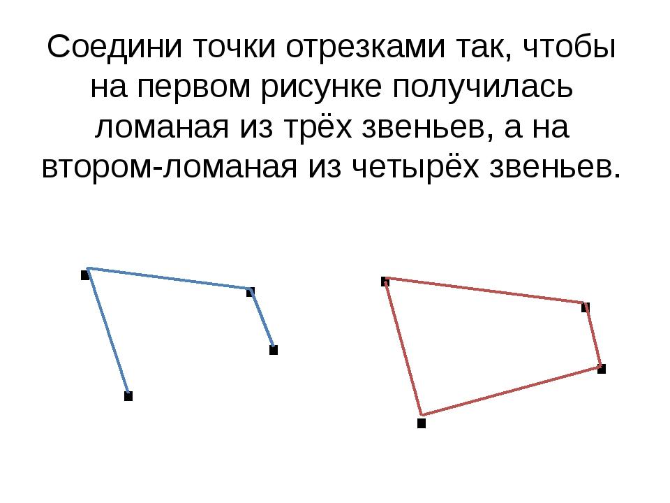 Соедини точки отрезками так, чтобы на первом рисунке получилась ломаная из тр...