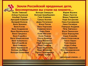 Аксён Тимонин Алёша Кузнецов Альберт Купша Аркадий Каманин Валерий Волков Вал